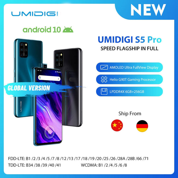 UMIDIGI S5 Pro Smartphone Helio G90T Gaming Processor 6GB 256GB FHD+ AMOLED  In-screen Fingerprint Pop-up Selfie Camera 5G Wifi