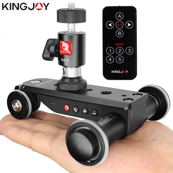 KINGJOY PPL-06SPRO Camera Slider Dolly Car Rail Systems Time Lapse Electric Motorized Dolly Car For Camera Phone Camcorder Dslr (PPL-06S Pro)