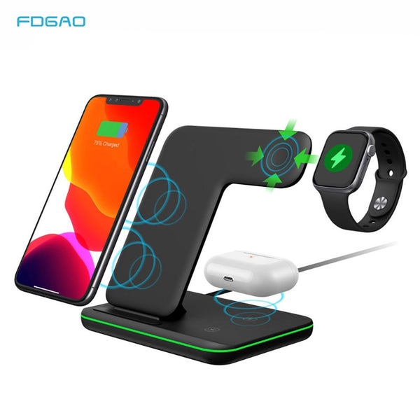 FDGAO 15W 3 in 1 Qi Fast Wireless Charger Pad Dock Station For iPhone 11 Pro XS Max XR X 8 Apple Watch 5 4 3 2 AirPods 2 Pro