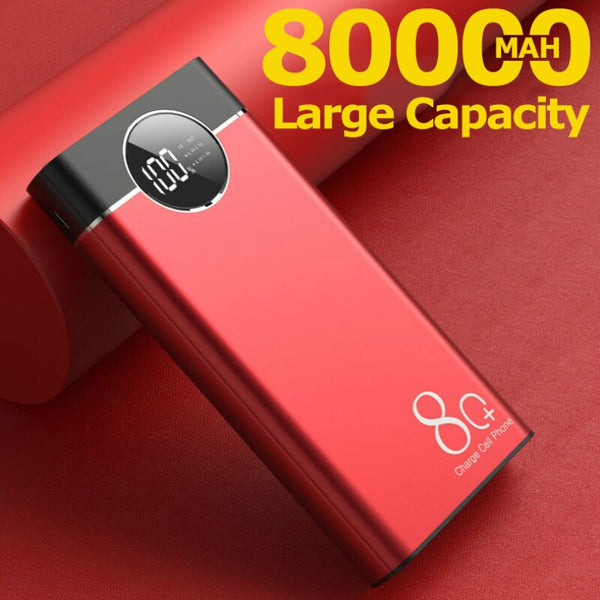 80000mah Portable Power Bank Fast Charging Large Capacity 2 USB External Battery for Iphone Xiaomi Samsung PoverBank
