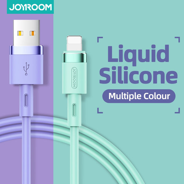 JOYROOM USB Cable For iPhone Cable 11 Pro Max Xs Xr X 8 7 6 6s iPad Fast Charging Cables Liquid Silicon Data Cable For iPhone