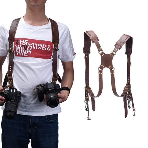 Camera Strap Leather DSLR Strap Double Shoulder Strap Photography Accessories Camera Harness Strap (Brown)