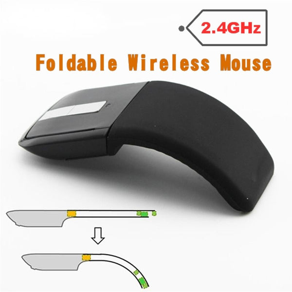 2.4Ghz Foldable Wireless Mouse Folding Arc Touch Mouse Mause Computer Gaming Mouse Mice For Microsoft Surface PC Laptop (Black)