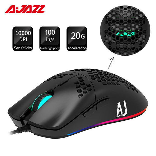 Ajazz AJ390R Gaming Mouse PAW3325 Optical Sensor 10000DPI Adjustable 7 Keys Honeycomb Hollow Design Wired Mouse 69g Ultralight