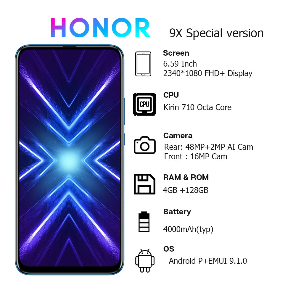 In Stock Special Version Honor 9X 4GB 128GB Mobbile phone 48MP AI Dual Camera 6.59'' Mobile Phone Google Play CellPhone