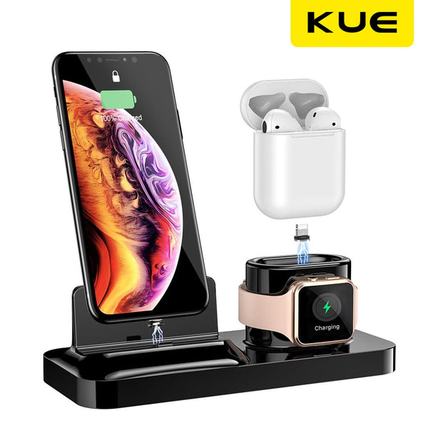 3 in 1Magnetic Charging Stand Wireless Charger Quick Charging for For IPhone X XS  Apple Smart Watch 1 2 3 4  For Airpods 1 2 (Black)