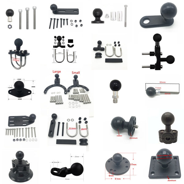 Motorcycle Handlebar Brake Clutch Control Base Combo U Bolt Mount with 1 inch Rubber Ball Mount for Ram for Gopro Cam