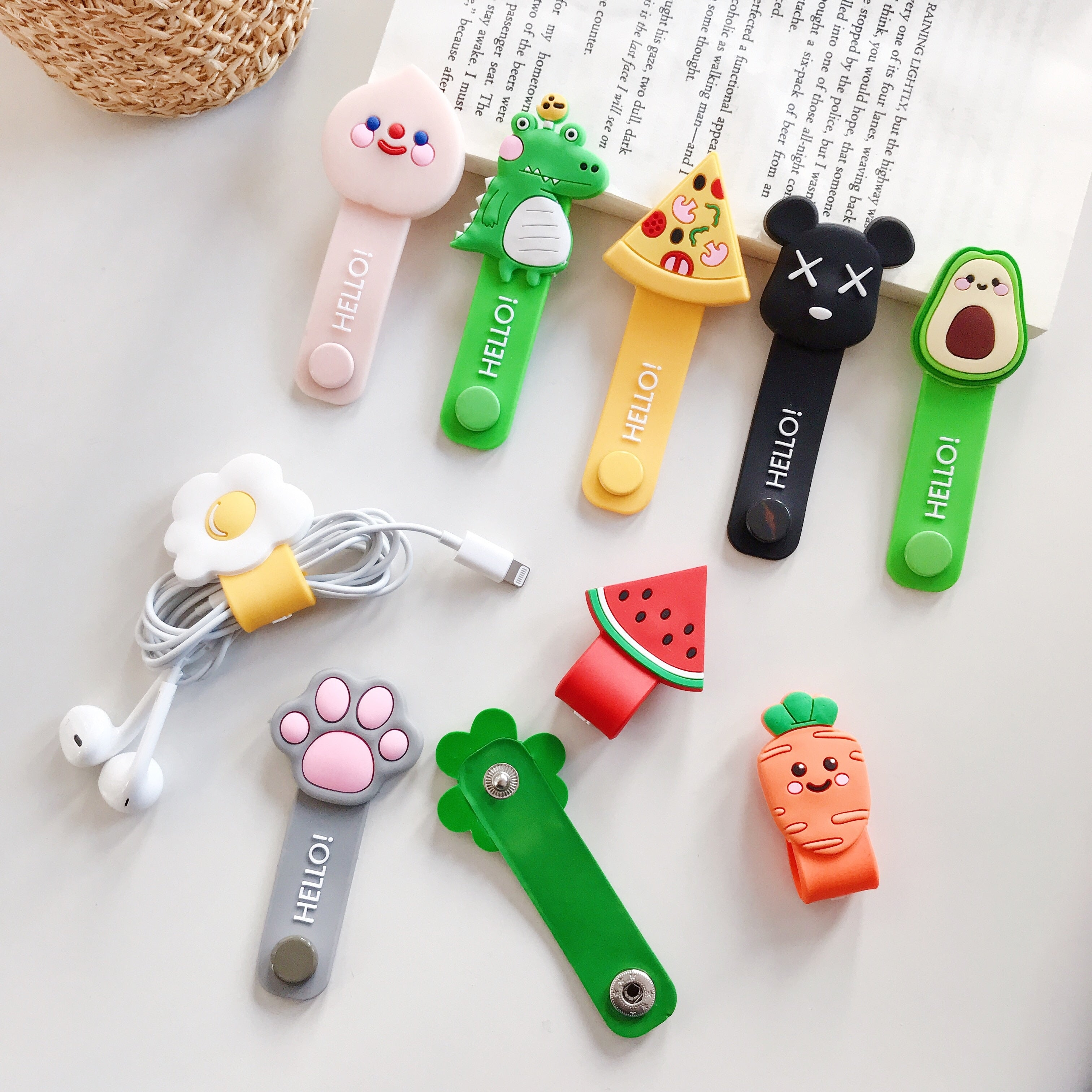 Cartoon Cable Protector Data Line Cord Protector Protective Case Cable Winder Cover For iPhone USB Charging Cable For Huawei