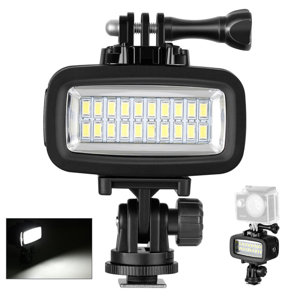 Neewer Waterproof Up to 131ft Underwater 20 LED 700LM Flash Dimmable Fill Night Light with 3 Color Filter for All DSLR Cameras