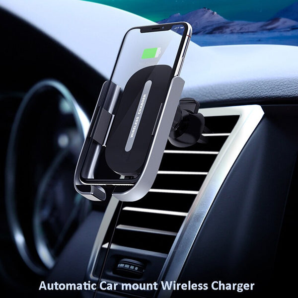 2020 New Car Wireless Charger Holder for Apple iPhone Huawei Automatic GPS Air Vent Car Phone Holder Wireless Charging Car Mount