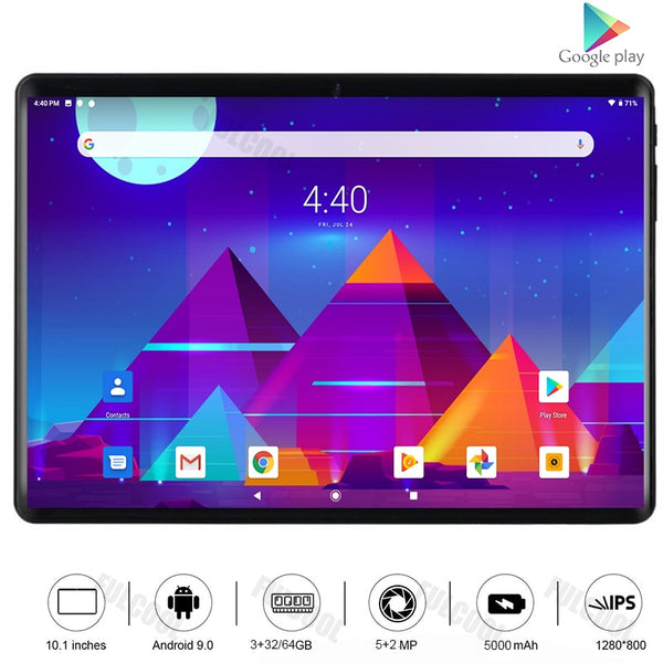 Global Version 10 inch 4G LTE Tablet PC Type-C Octa Core 3GB RAM 32GB ROM 5G Wifi Android 9.0 tablet 10.1+ 64GB TF Card