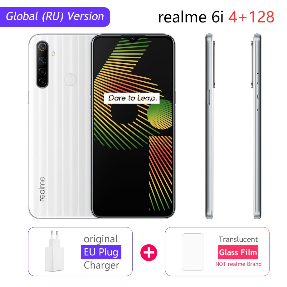 "realme 6i Global Version 6 i Mobile Phone 4GB RAM 128GB ROM 5000mAh Battery Helio G80 6.5"" Display 48MP Camera NFC Play Store"