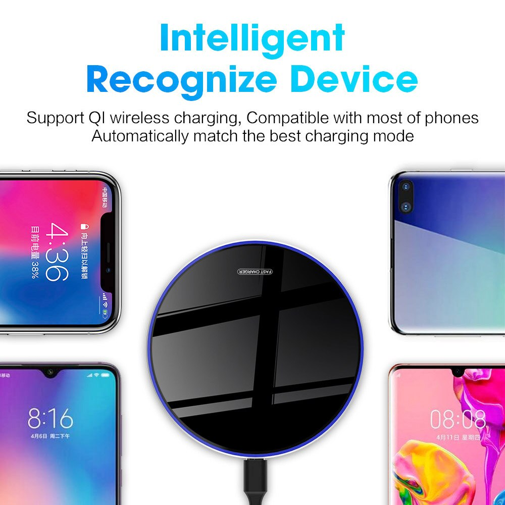 FDGAO 15W Qi Wireless Charger for iPhone 11 Pro Xs Max XR X 8 Induction Fast Charging Pad for Samsung S20 S10 Huawei Xiaomi 10 9