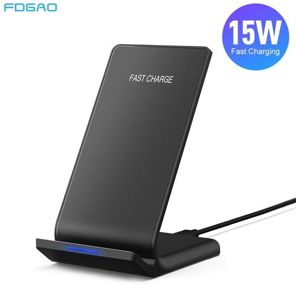 FDGAO 15W Fast Wireless Charging Holder Qi Induction Charger Stand For Samsung Note 10 9 S20 S10 For iPhone 8 X XS XR 11 Pro Max