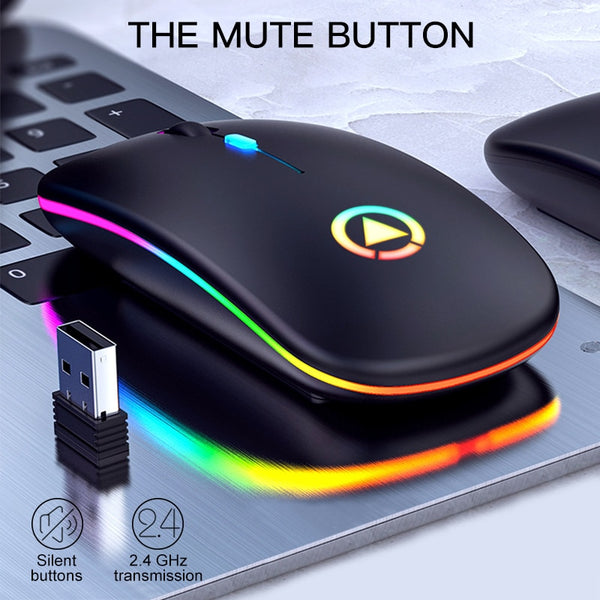 Wireless USB Mouse RGB Computer Mouse Silent PC  Rechargeable Ergonomic Mouse With LED Backlit USB Optical Mice For PC Laptop