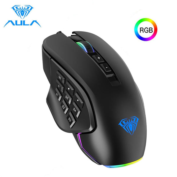 ALUA RGB Gaming Mouse with Side Buttons Macro Programming 10000 DPI Adjustable 14 Key Wired USB Backlit Mouse for Desktop Laptop