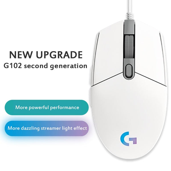 Logitech G102 Wired Gaming Mouse 8000 DPI Backlit Mechanical Mouse Side Button Glare Mouse Macro Laptop USB Home Office