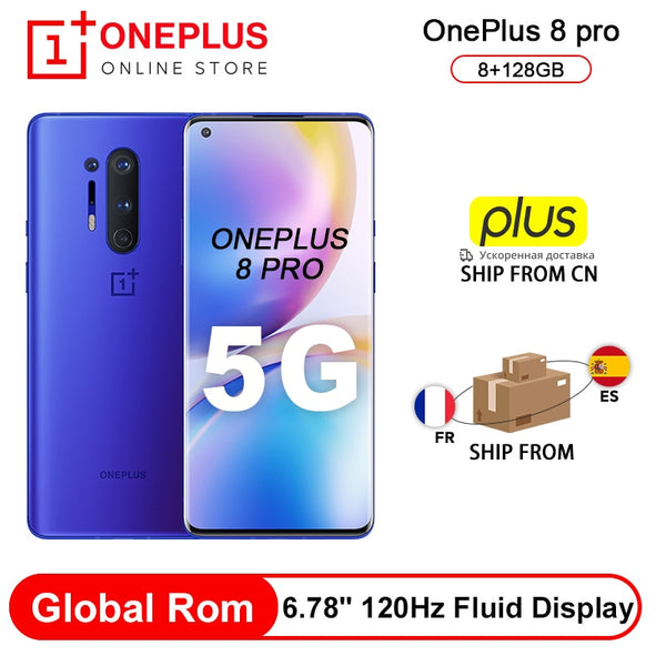 Global Rom OnePlus 8 Pro 5G SmartPhone Snapdragon 865 8G 128G 6.87'' 120Hz Fluid Scrren 48MP Quad Cams 30W Wireless Charging