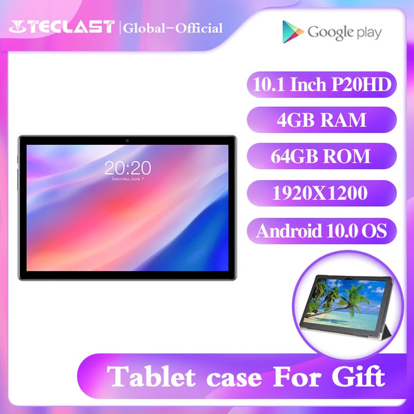 Teclast P20HD tablet 10.1inch Octa core A55 Android 10.0 1920×1200 4GB RAM 64GB ROM IPS 2.5D touch metal body BDS+GPS  6000mAh