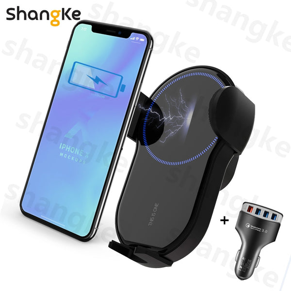Qi Wireless Car Charger for iPhone 11 XR XS Max Samsung S10 S9 S8 Quick Wireless Charging Charger Car Mount Mobile Phone Holder