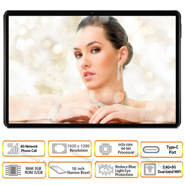 Hot sale Global Version 4G LTE 10 inch Tablet pc Android 9.0 Octa Core 64GB ROM 1920*1200Resolution Dual Sim Dual cameras Tablet