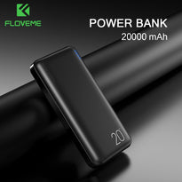 Floveme Power bank 20000mAh Mini Portable Charger Travel Powerbank Fast Charger External Battery Mobile Phone PowerBand for xiao (Black)