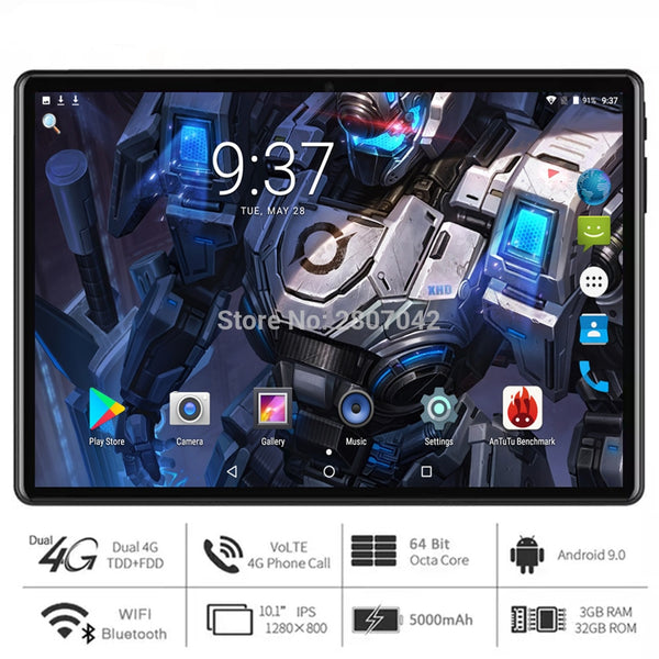 Super Fast 5G WiFi tablet pc 10 inch Octa Core 3GB RAM 32GB ROM 1280x800 HD screen Dual 2.5D Glass 4G LTE Android 9.0 OS Pad