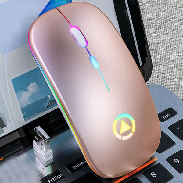 2020 New Rechargeable 2.4GHz Wireless Mouse LED Backlight Silent Mice USB Optical Gaming Mouse For PC Computer Accessories