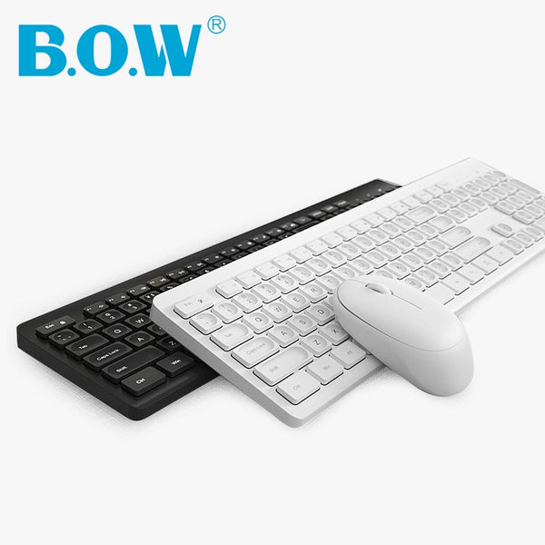B.O.W Wireless Keyboard and Mouse for PC,  Share Same Dongle  Plug and Play,  Silent Typing and 106 Keys  Design