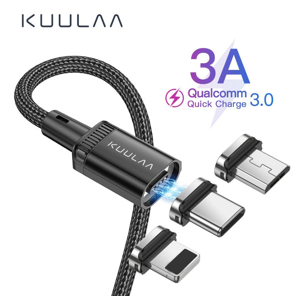 KUULAA Magnetic Charge Cable Fast Charging USB Micro Type C Cable Magnet Data Sync Charging Wire Phone Cable For iPhone USB Cord