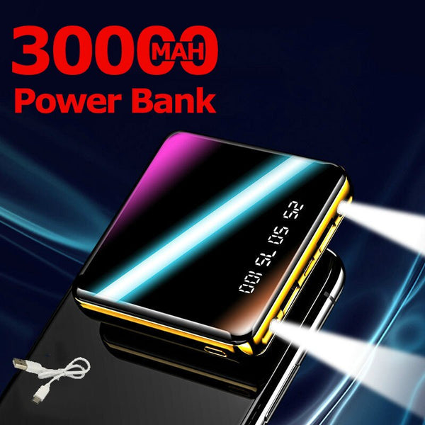Mini Power Bank 30000mAh Outdoor Fast Charger 2USB Port LCD Power Bank Portable Charging Power Bank for Iphone Samsung Xiaomi