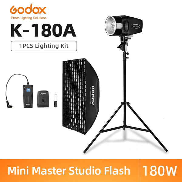 Godox K-180A 180Ws Photography Studio Flash Strobe Light + 50 x 70cm Gird Softbox + 180cm Light Stand + RT-16 Trigger Flash Kit