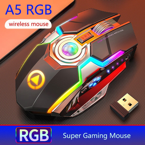 NEW 2.4GHz Wireless Super Gaming Mouse Silent 7 Keys RGB Backlit 1600 DPI Mouse Rechargeable Black Grey for Laptop Desktop PC