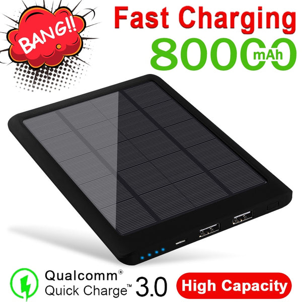 80000mAh Solar Power Bank High-capacity Portable Phone Fast Charger Powerbank Solar Battery Panel for Xiaomi Samsung IPhone