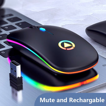 Rechargeable Wireless Mouse 7 color LED Backlight Silent Mice USB Optical Gaming Mouse for Computer Desktop Laptop PC Game Gamer
