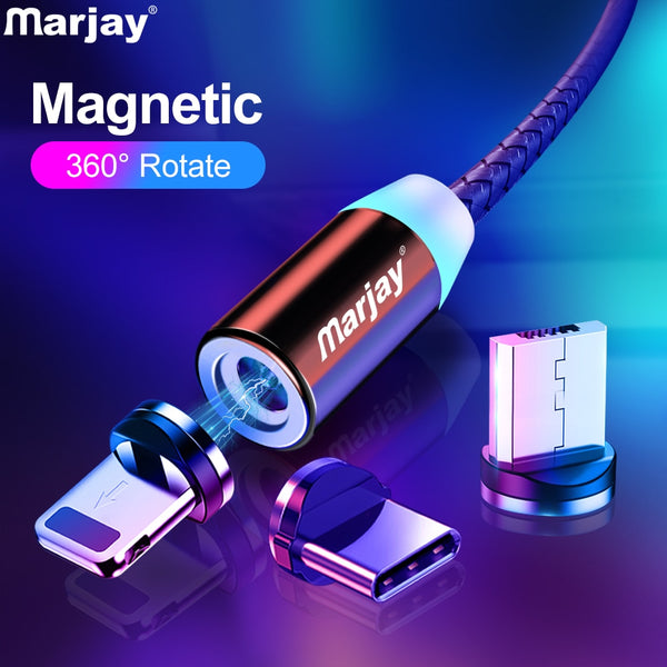 Marjay Magnetic USB Cable For iphone Fast Charging Micro USB Type C Cable For Samsung Xiaomi Huawei Mobile Phone Charger Wire