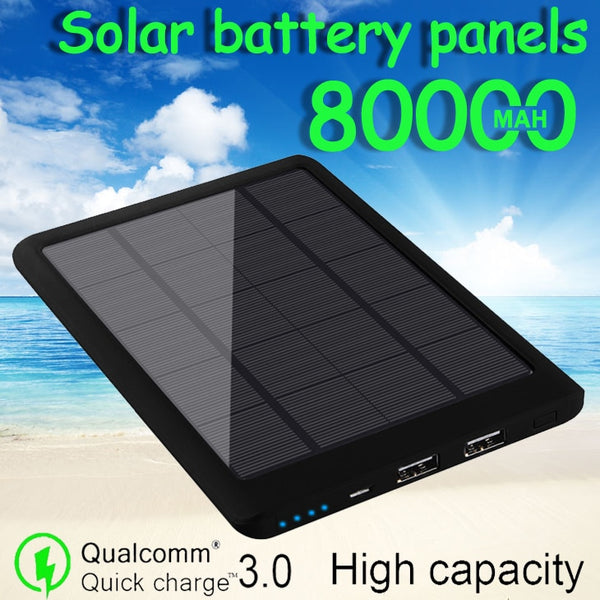 80000mAh Power Bank Large-capacity Solar Battery Panel Outdoor Emergency Phone Fast Charger for Xiaomi Samsung Free Shipping