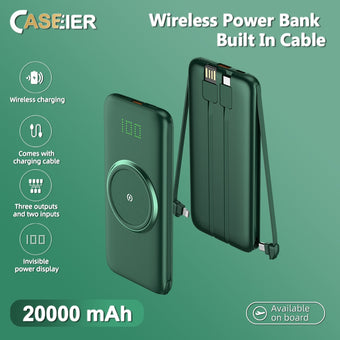 CASEIER 20000mAh Qi Wireless Charger Power bank For Xiaomi Mi9 iPhone 11 XR XS Huawei P30 External Battery Powerbank with Cable