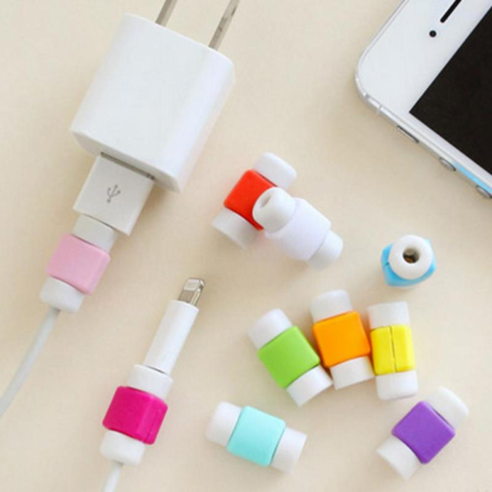 Silicone USB Cable Protector Earphone Wire Cord Protection Cover Data Charger line Protective Sleeve For Apple iphone 6 7 8 plus