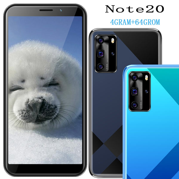 4G RAM Note20 smartphones quad core 64G ROM mobile phone 5MP+13MP Front/back camera 5.5inch face ID unlocked wifi global version