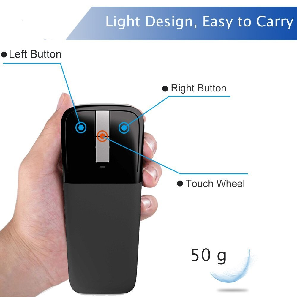 2.4Ghz Foldable Wireless Mouse Folding Arc Touch Mouse Mause Computer Gaming Mouse Mice For Microsoft Surface PC Laptop