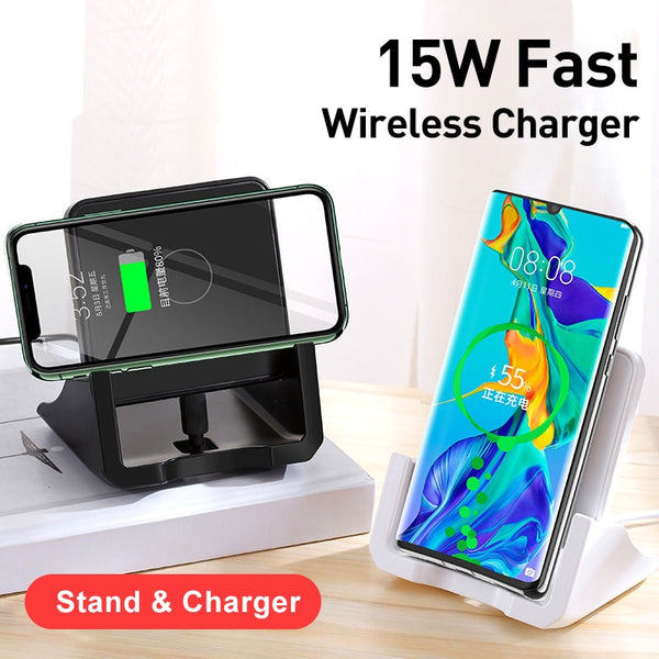 10W 15W Fast QI Wireless Charger For iPhone 11 Pro 8 X XR XS Max 15W USB Quick Wireless Charging Pad Dock For Samsung Xiaomi