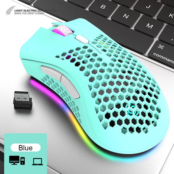 VODOOL BM600 2.4GHz Wireless Gaming Mouse USB Rechargeable 1600DPI Adjustable RGB Backlit Hollow Out Honeycomb Office Gamer Mice