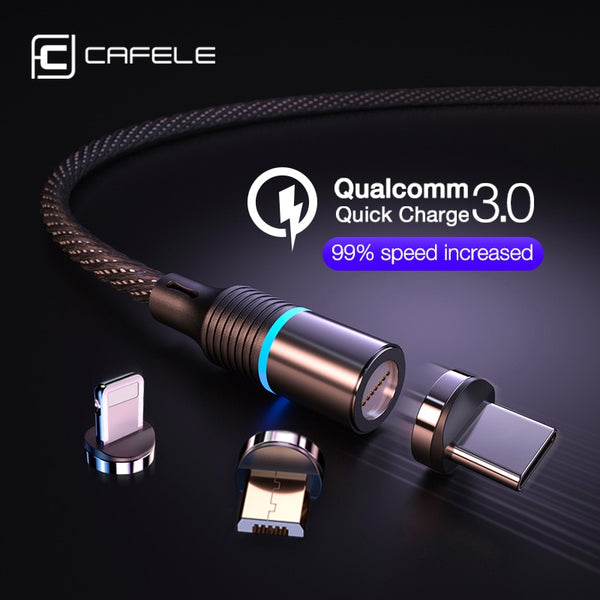 Cafele magnetic charger cable micro usb type c cable for iPhone Fast Charging 3A Wire Cord usb c Phone cable Support data sync