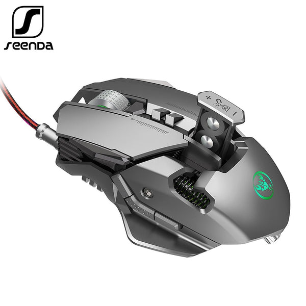 SeenDa Professional Gaming Mouse 3200DPI Full 7 Programmable Buttons RGB LED Optical USB Wired Game Mice for Laptop PC Gamer (silver)