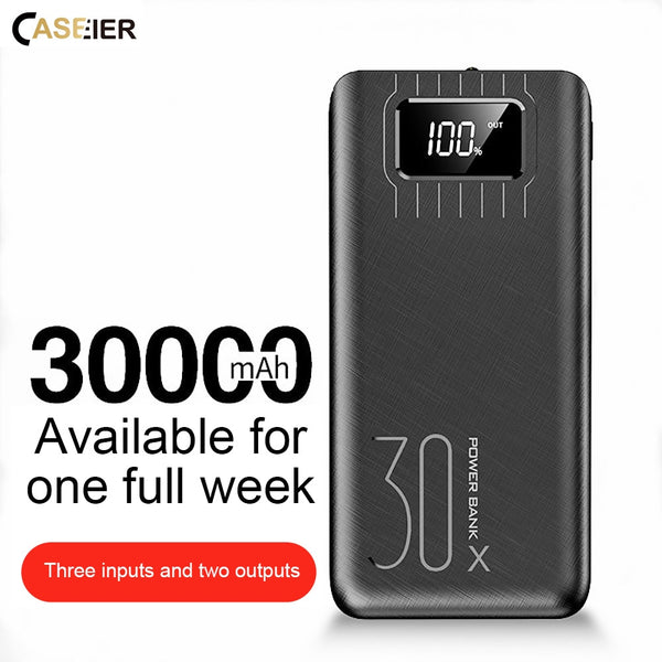 CASEIER 30000mAh Power bank For iPhone Digital Display Portable Charger External Battery Powerbank For Xiaomi Samsung Poverbank