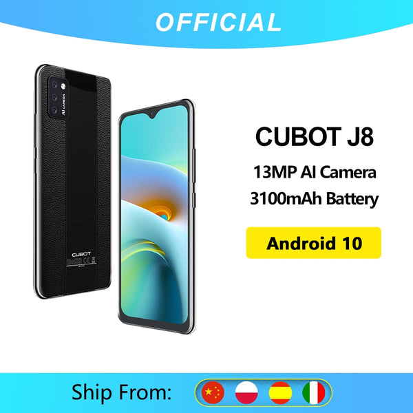 Cubot J8 Smartphone 5.5 Inch Triple Camera  Android 10 Dual SIM Card Telephone 3100mAh Battery 2GB RAM+16GB ROM 3G Android Phone