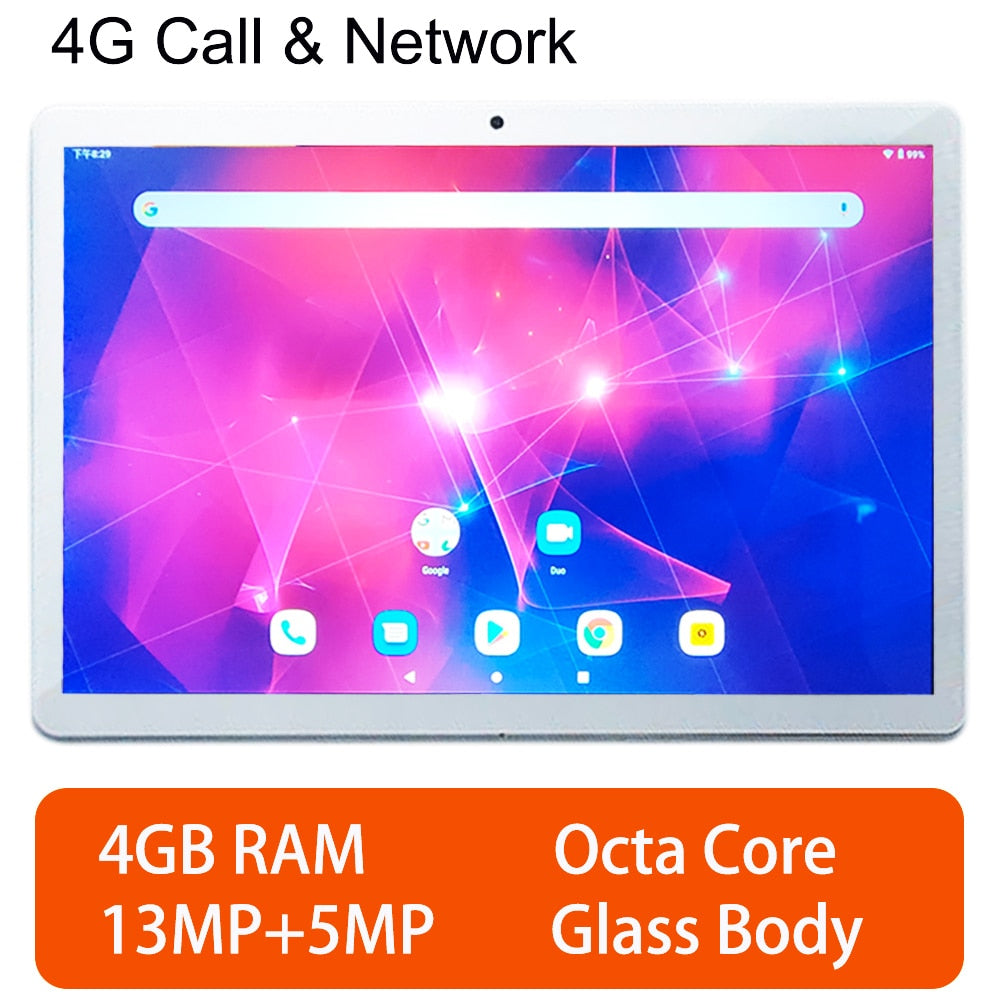 Global Cheap 4G Call 10.1 inch laptop Tablet 10.1 13MP tablet android GPS gaming pc Tablets Glass cover octa core tablet 4GB RAM