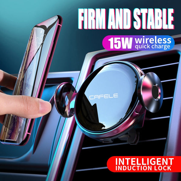 15W Wireless Charger  Car  fast Charge for Iphone 11 samsung Huawei Automatic Clamping Intelligent Infrared Qi Phone Holder (Black and silver)