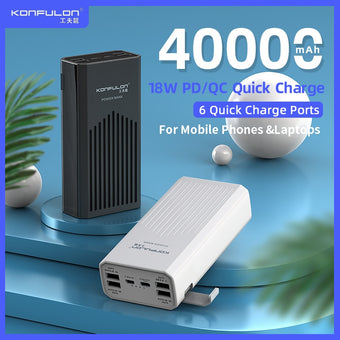 Power Bank 40000mah QC 3.0 PD 18W Two-Way Quick Charge Bank Power 12V Powerbank For Laptop/Notebook Power Bank For IPhone Xiaomi